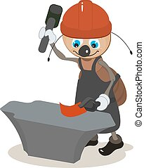 Ant smith hit hammer on anvil. Vector cartoon