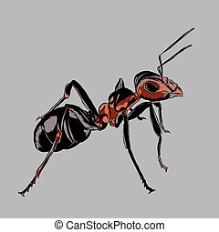 This design depicts an ant, has a theme of animals.