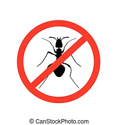 ant warning sign, no ants - vector illustration.