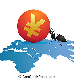 Ant with a big symbol of Yuan on wo