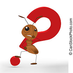 Ant With A Red Question Mark - An ant in front of a red ...