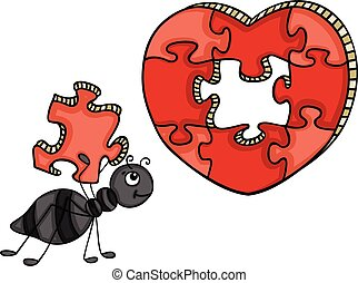 Ant with heart shaped puzzle