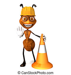 Ant with work cone