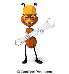 Ant with work wrench