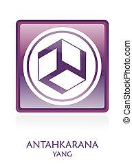 Antahkarana YANG icon Symbol in a violet rounded square....