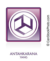 Antahkarana YANG icon Symbol in a violet rounded square. ...