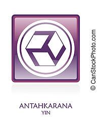 Antahkarana YIN icon Symbol in a violet rounded square....