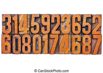 antal, abstrakt, ind, vinhøst, træ, type