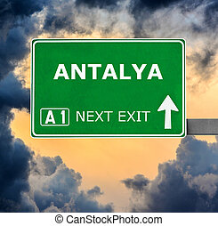 ANTALYA road sign against clear blue sky