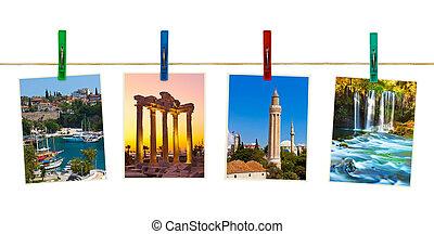 Antalya Turkey travel photography on clothespins isolated on white background