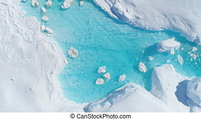 Antarcica iceberg turquoise river top down view - Antarcica...