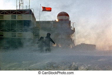 antarctic blizzard - snowstorm, antarctic research base...