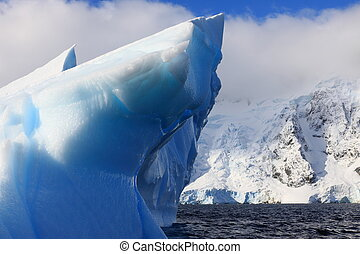 Antarctic blue Iceberg and landscape