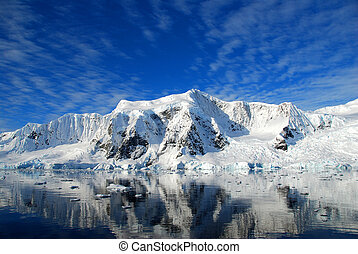 antarctic continent with mirror reflection