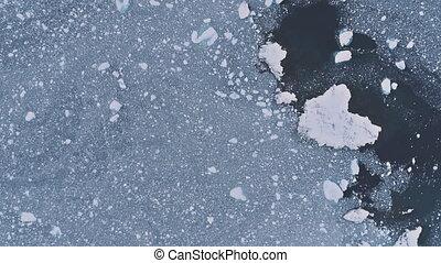 Antarctic drone flight over the ice ocean, base. - Ice...