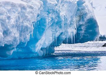 Antarctic Glacier with icicles