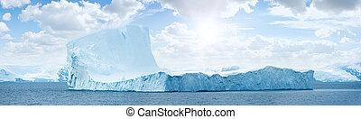 Antarctic ice island. Iceberg. - Huge antarctic ice island...