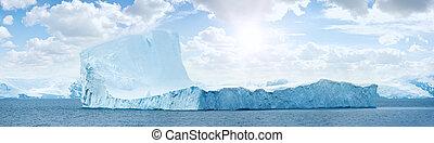 Antarctic ice island. Iceberg. - Huge antarctic ice island...