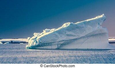 Antarctic iceberg. Slow motion 4K footage