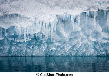 Antarctic iceberg - Reflection of the Antarctic Glacier with...