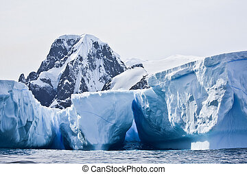 Antarctic icebergs in the snow