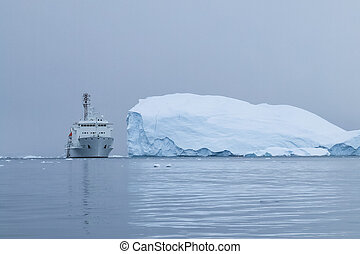 Antarctic icebergs in the waters of the ocean