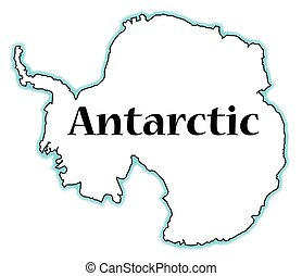 Antarctic - Outline map of Antarctic over a white background
