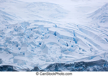 Antarctic landscape, snow desert, snowy hills on a frozen plain