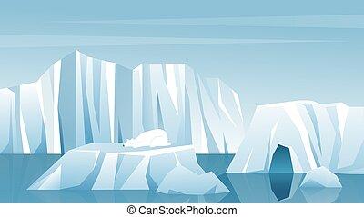 Antarctic landscape vector illustration. Cartoon nature winter arctic iceberg, snow mountains hills, scenic northern icy nature background