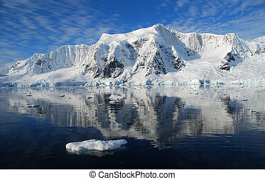 antarctic landscape with sun