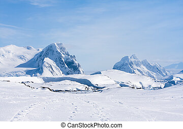 Antarctic mountain range - Mountain range is covered with...