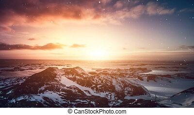 Antarctic Nature. Beautiful colorful sunset - Antarctic...