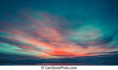 Antarctic Nature. Beautiful colorful sunset cloudy sky....