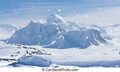 Antarctic Nature: snow-capped mountains in winter