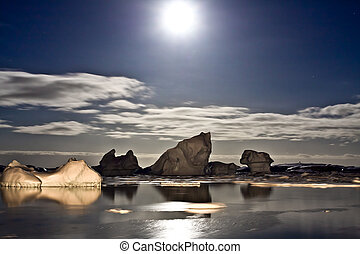 Antarctic night - Summer night in Antarctica.Icebergs...