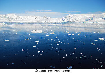Antarctic ocean with ice floes