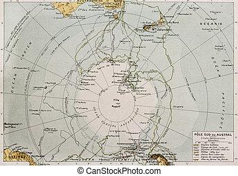 Antarctic old map. By Paul Vidal de Lablache, Atlas...