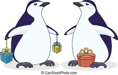 Antarctic penguins with gift boxes - Cartoon antarctic...