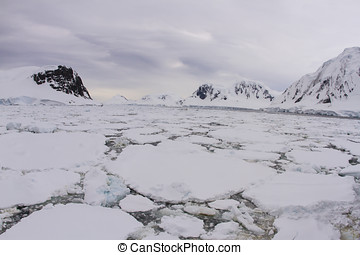 Antarctic peninsula with floating pack ice