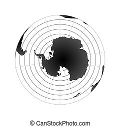 Antarctic pole globe hemisphere. World map view from space isolated on white