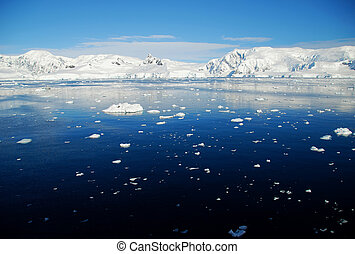 Antarctic seascape with ice floes