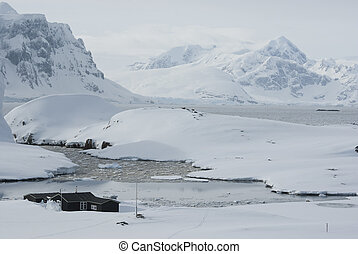 Antarctic station in the winter.
