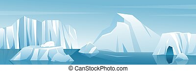 Antarctic wide landscape panorama illustration, nature winter arctic iceberg and snow mountains hills