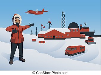 Antarctica and North Pole, vector illustration. Polar Explorer at the research station. Offshore oil production. Vector illustration.