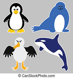 Antarctica Animals - Cartoon illustration of Antarctica...