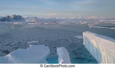 Antarctica big iceberg vernadsky station aerial