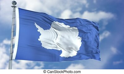 Antarctica Flag in a Blue Sky