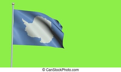 Antarctica Flag in 3D render with green screen background in Slow Motion