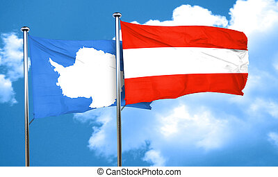 antarctica flag with Austria flag, 3D rendering