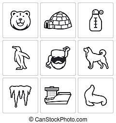 Antarctica icons set. Vector Illustration.